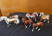 Vintage Lot Of Cc Plastic Horse With Hair / Mane  3 1/2 Inch