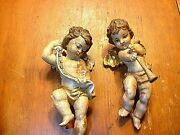 Pair Of Antique 8 Hand Carved And Painted Wooden Cherub Angels Putti Figurines