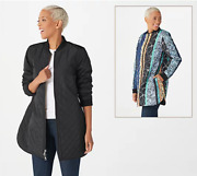 Logo By Lori Goldstein Reversible Quilted Zip Front Jacket - Black - Large