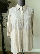 Logo By Lori Goldstein Mixed Print Woven Blouse With Lurex Large Toasted Grey