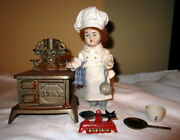Antique Doll House Doll , Lady Cook With Cast Iron Stove Marked Star
