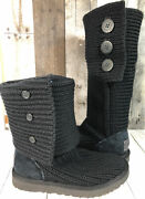 """Women's Ugg """"cardy Black Knit Boots Large Buttons Wear Tall Or Fold Over Size 7"""