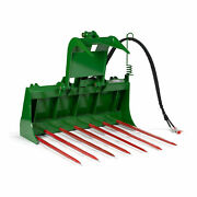 Titan 48-in Tine Bucket Attachment With 32-in Hay Bale Spears Fits Jd