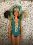 Vintage 1975 Ideal Tuesday Taylor Blonde Brunette Changeable Hair Doll Swimsuit