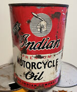 Vintage Original Can Of Indian Motorcycle Quart Oil Full Springfield Mass