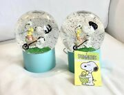 Peanuts Snoopy Easter Led Motion Snow Globes Set Of Two Glitter Collectibles
