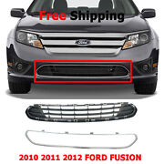 For 2010-12 Ford Fusion Front Bumper Lower Grille And Chrome Molding Trim Set Of 2