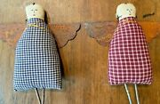 Handmade Rustic Primitive Folk Art Gingham/plaid Hanging Angels With Tin Wings