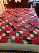 """Vintage Hand-stitched Hand-tied Red/navy/white Bow Tie Quilt 71""""x85"""""""