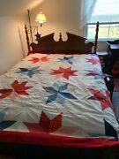 Vintage Hand-stitched Hand-tied Stars Quilt 88andrdquox91andrdquo Reds White Blues