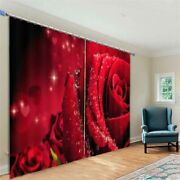 Bright Red Roses Covered With Dew Printing 3d Blockout Curtains Fabric Window
