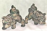 2 Vintage Cast Iron Temple Foo Dogs/incense Burners Large Heavy