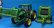 Ertl John Deere Big Farm 7330 Toy Tractor With Lights And Sound And 854 Hay Baler