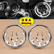 Chrome Flame Front Speaker Grills Trim Cover For Harley Electra Street Tri Glide