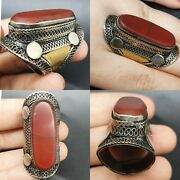 Intake Antique Silver Near Eastern Seal Ring With Ancient Agate Stone