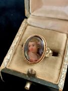 Antique ,victorian 14k Yellow Gold Hand-painted On Porcelain Portrait Ring