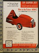 1954 Space Jet X9 Pedal Car Buffalo Tractor Tricycle Wagon Inland Mfg Toy Adtq52