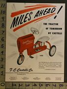 1954 Pedal Car Ride On Tractor Chain Drive Fc Castelli Philadelphia Toy Ad Tm75