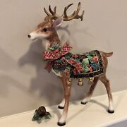 Fitz And Floyd Holiday Pine Standing Reindeer Candle Holder/figurine-retired