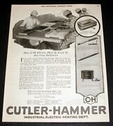 1920 Old Magazine Print Ad, Cutler-hammer, Industrial Electric Heating Dept