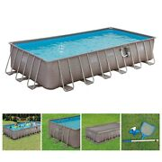 Summer Waves 24ft X 12ft X 52in Rectangle Above Ground Frame Pool Set Open Box