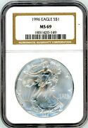 1996 1 Silver Eagle Ms69 Ngc Brown Label