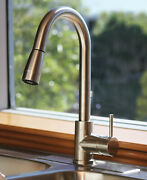 New Pull Down Kitchen Faucet Satin Nickel High Quality Beautiful Elegant Trend