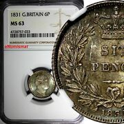Great Britain William Iv Silver 1831 6 Pence Ngc Ms63 1st Year For Type Km 712
