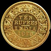 1870 C Gold British India 10 Rupees Official Proof Extremely Rare Damage