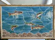 Xl 63x40 Custom Handmade Hand-painted Ceramic Tiled Mural Brook Trout In Motion