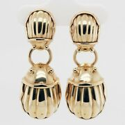 And Co. Double Scarab Drop Dangle Earrings In 18k Yellow Gold - Vintage