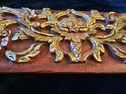 Antique 19 C. Elaborate Huge 46 Gilded Chinese Wall Panel Relief Wood Carving