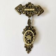 Austro Hungarian Antiqued Gold Tone Faux Pearl Guilloche Lavaliere Brooch