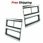 For 89-91 Chevy Truck Headlight Trim Bezels Argent/gray And Chrome Lh And Rh Set Of2