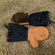 Vintage Air Crew Us Air Force Mittens Leather Wool Fur N-4a Size Med Warm Gloves