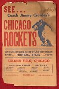 Antique 1947 Jim Crowley And His Chicago Rockets Aafc Football Broadside Early Old