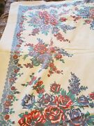 Vintage Wilendur Floral Print Tablecloth Red And Purple Roses