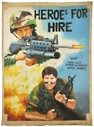 Ghana Movie Poster African Cinema Outsider Art Hand Painted Heroes For Hire