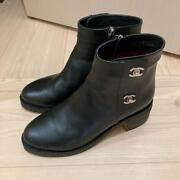 Auth Cc Turnlock Leather Black Ankle Boots Size 38 Used From Japan F/s