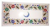 12x18 White Marble Coffee Table Moon, Owls Inlay Floral Multi Gems Decor W029