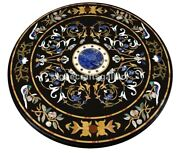 42 Black Marble Dining Table Top Lapis Marquetry Floral Inlay Home Decors B219a