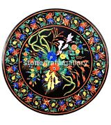 42 Black Marble Dining Table Top Lapis Marquetry Inlay Floral Kitchen Deco B229