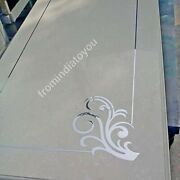 5and039x3and039 White Marble Dining Table Top Semi Precious Inlay Stone Handmade Deco E951