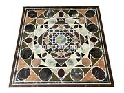 3and039x3and039 Black Marble Dining Side Table Top Scagliola Inlay Stone Art Home Dec B003