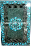4and039x2and039 Green Marble Dining Table Top Inlay Turquoise Floral Art Handmade Dec B194