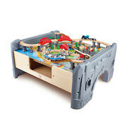 Hape 70 Piece City Train Table And Set With Battery Powered Locomotive Used