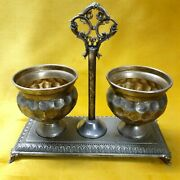 Vintage Double Salt Holder Silver Plated Or Sweet Meats Caddy Pair Embossed Old