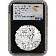 2021 W American Silver Eagle - Ngc Ms70 - Early Releases - Grade 70 - Black