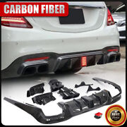 For Benz W222 S63 S65 Amg 18up Rear Bumper Diffuser W/exhaust Tips Carbon Fiber