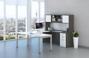 Modern U Shaped Desk And Hutch With Metal Legs White And Gray And 8 Colors